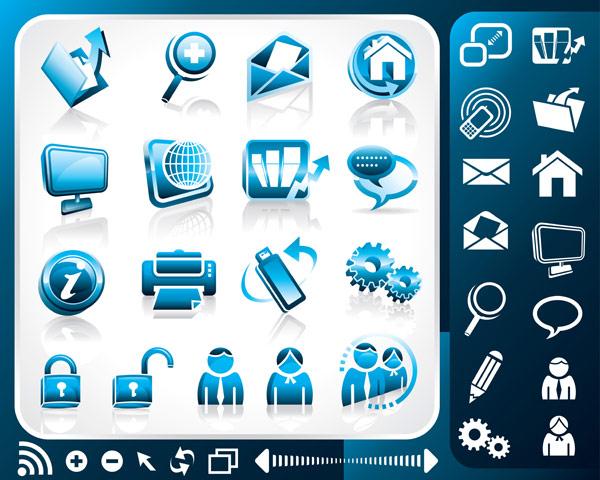 蓝色办公室主题图标矢量素材,文件夹,上传,放大镜,邮件,信封,房子