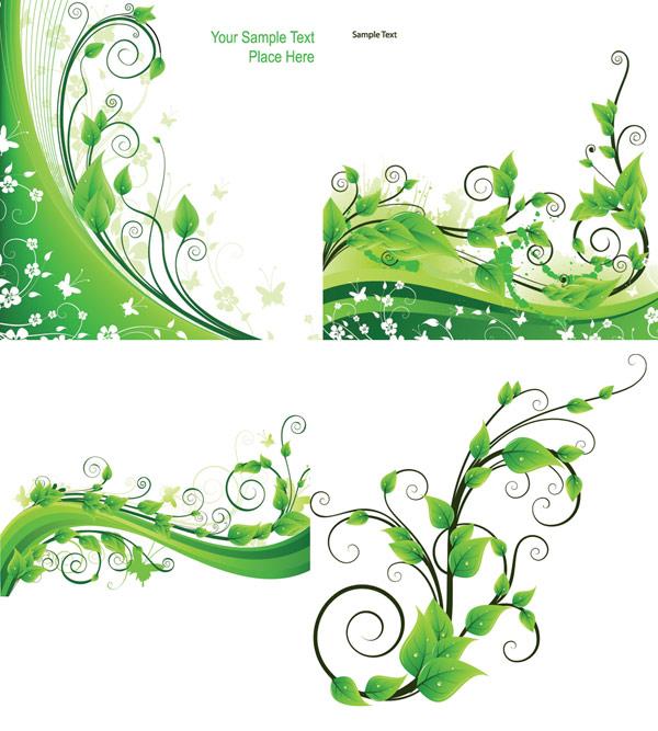 绿色藤类植物矢量素材,藤蔓,藤类,植物,绿叶,叶子,缠绕,动感,线条