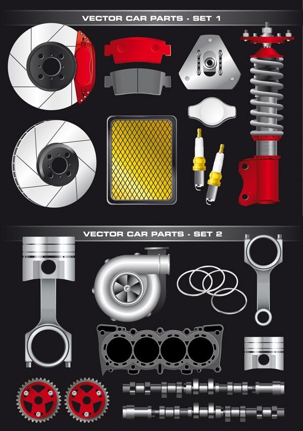 汽车零部件矢量素材