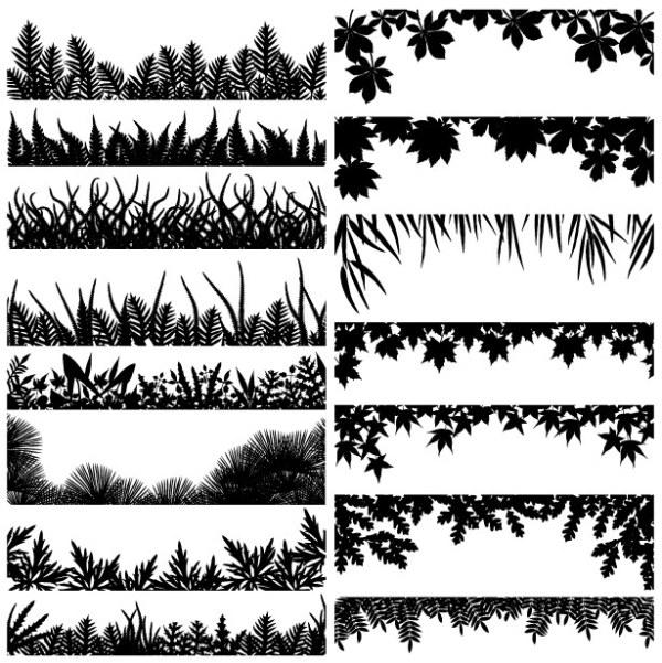 各种树叶剪影矢量素材