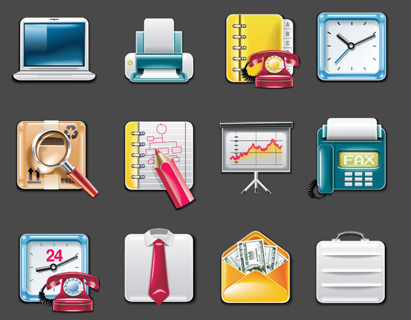 打印机,电话,电话薄,时钟,时间,包裹,放大镜,查找,铅笔,记事本,幻灯片