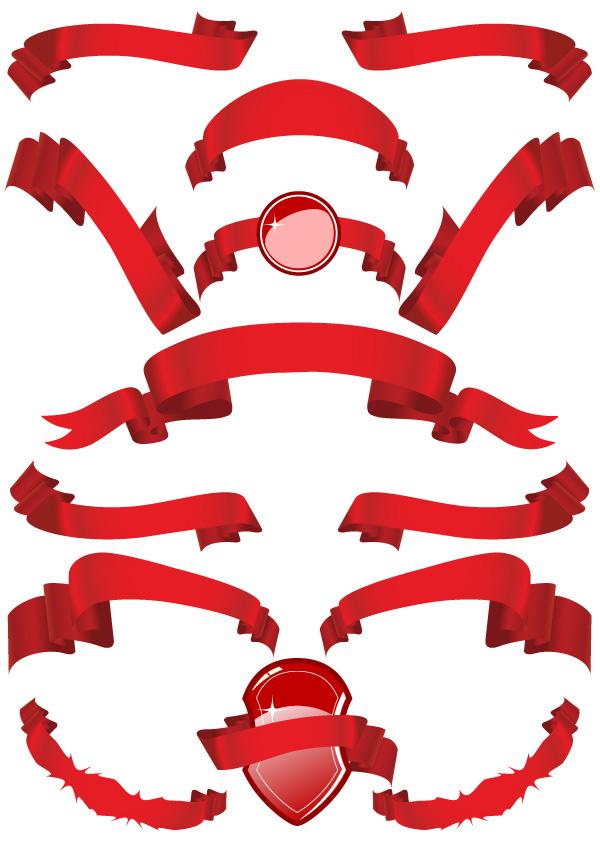 紅絲帶,紅飄帶,絲帶,飄帶,綢帶,飄逸,飄動,纏繞,盾牌,banner,矢量