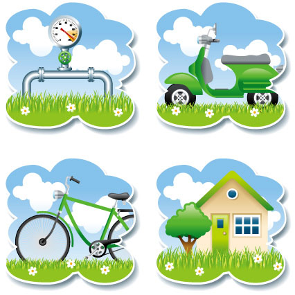 仪表,云朵,电动车,摩托车,自行车,单车,花草,小草,树木,房子,环保