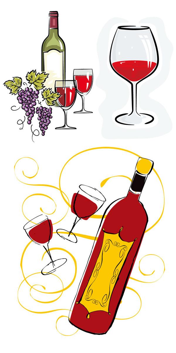 手绘,葡萄酒,红酒,酒瓶