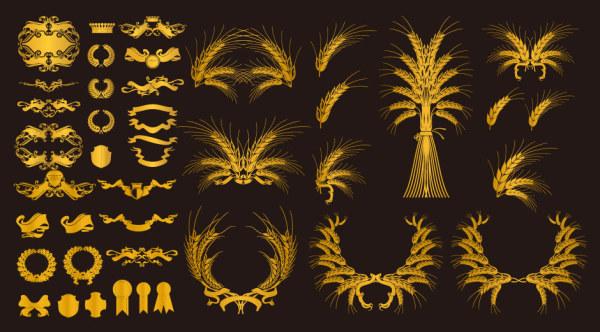 金色欧式装饰元素矢量素材