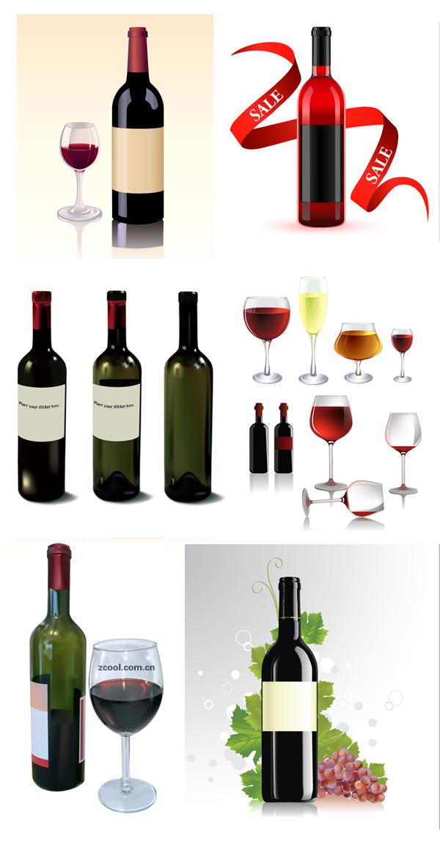 红酒酒瓶和酒杯