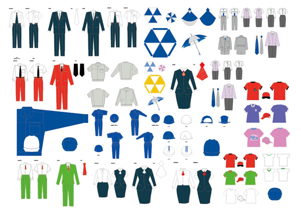 VI服模板,VI,服饰,T血,服装,公服,制服,广告伞雨衣,广告帽,矢量素材,AI格式