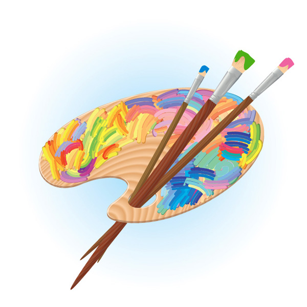调色板与画笔矢量素材,调色板,调色盘,画板,画笔,画画,绘画,水彩,水粉