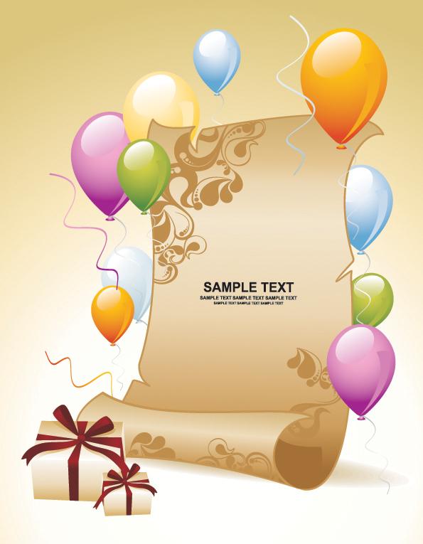 气球礼物纸张背景矢量素材,气球,彩色,色彩,礼物,礼品,丝带,绸带