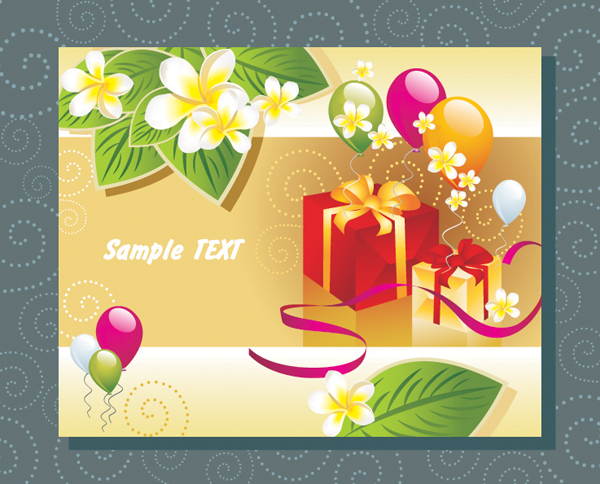 气球礼物树叶卡片矢量素材,气球,彩色,色彩,礼物,礼品,丝带,绸带