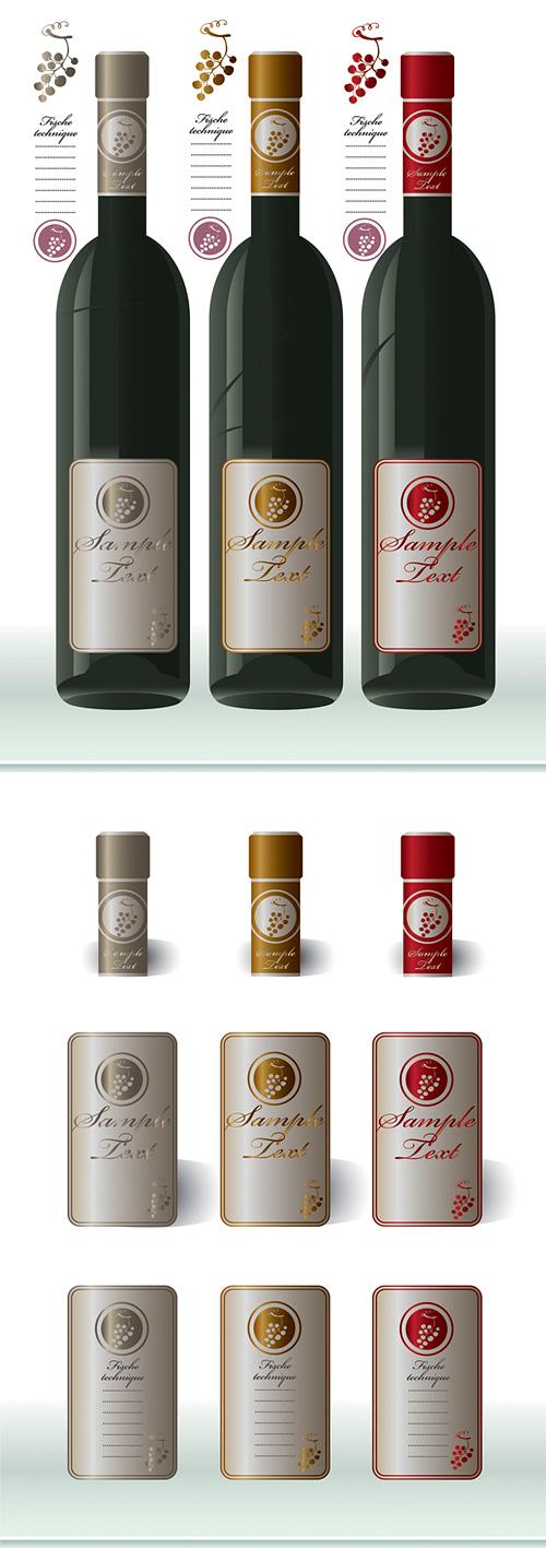 葡萄酒瓶及瓶贴瓶盖矢量素材,红酒,葡萄酒,酒瓶,玻璃瓶,瓶贴,瓶标图片