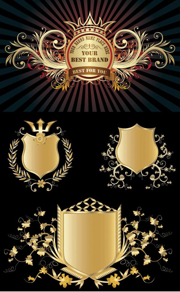 几款金色盾牌徽章矢量素材