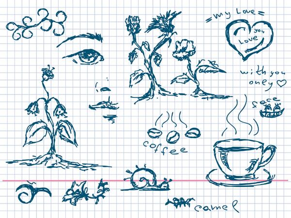 植物咖啡等元素