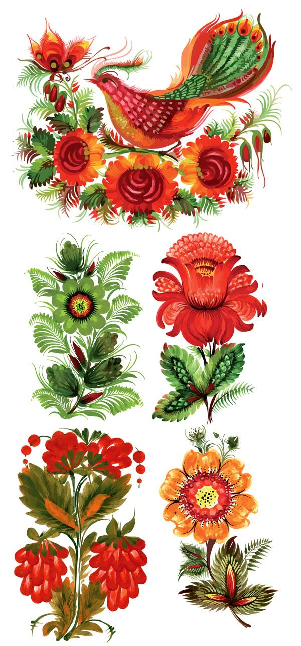 关键词: 手绘风格花卉装饰矢量素材,手绘,花卉,花朵,花纹,装饰,凤凰