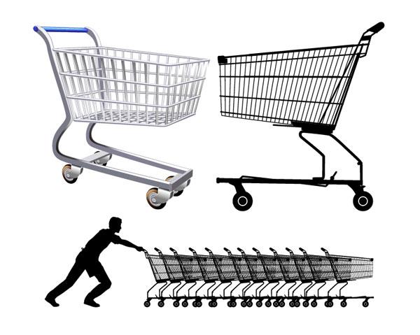 超市购物车矢量_矢量生活用品