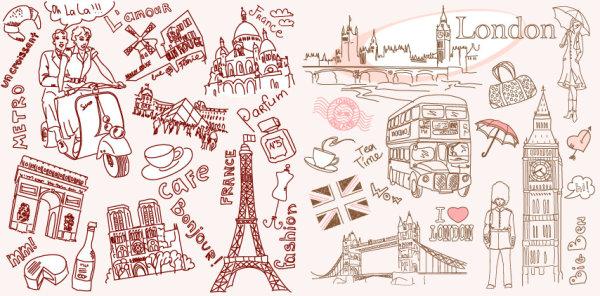 和伦敦线描矢量素材,法国,巴黎,英国,伦敦,摩托车,凯旋门,埃菲尔铁塔