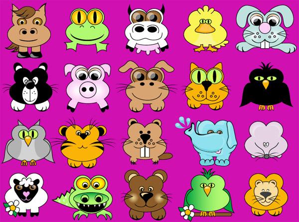 可爱卡通动物_矢量卡通动物