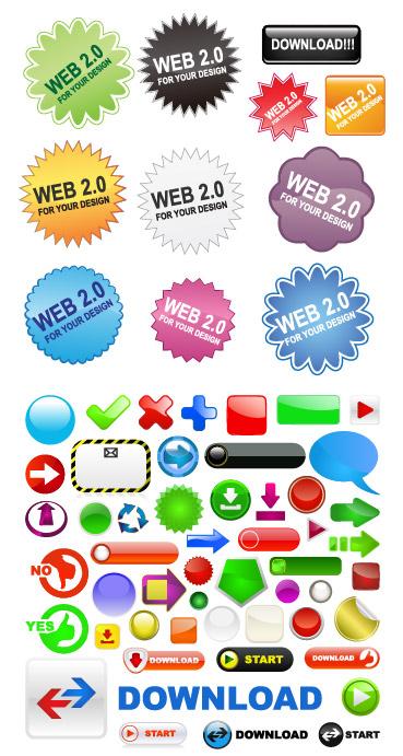 0按钮图标矢量素材,按钮,齿状,圆形,信封,邮件,对勾,交叉,对话框,对话