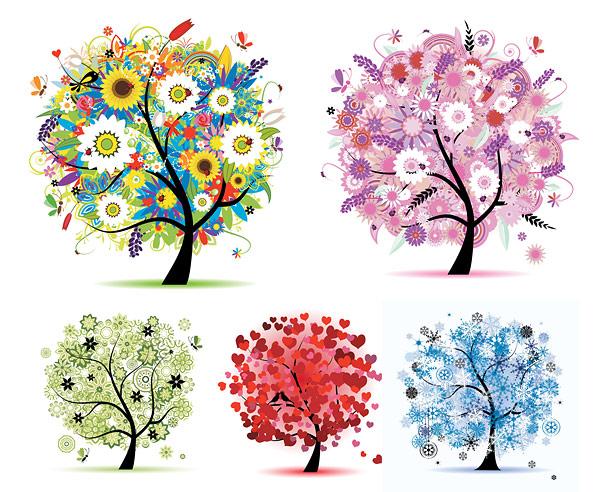 季节,春夏秋冬,春天,夏天,秋天,冬天,雪花,心形,爱情,大树,树木,矢量