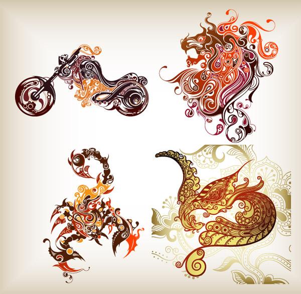 4款超酷的潮流图形矢量素材,花纹,超酷,潮流,摩托车,狮子,蝎子,凤凰