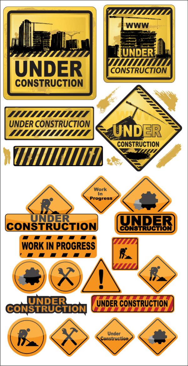与建筑图标矢量素材,高楼,吊车,黄色,警示,斜线,涂鸦,复古,图标,工地