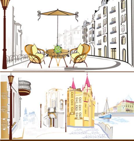 欧美建筑简笔画