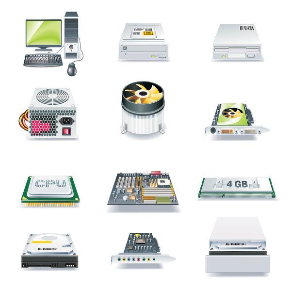 电脑科技图标矢量素材,电脑脑,显卡,声卡,电源,CPU,刻录机,光驱,科技,图标,IT,风扇,主板,内存,矢量素材,主机,散热风扇,配件,EPS格式