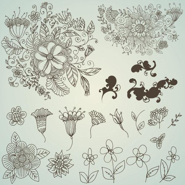 手绘黑白线描装饰画花卉