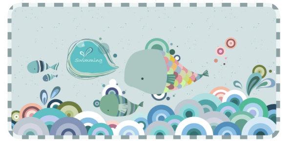 时尚潮流卡通动物图案1,时尚,潮流,卡通,动物,图案,鱼,大海,可爱,ai