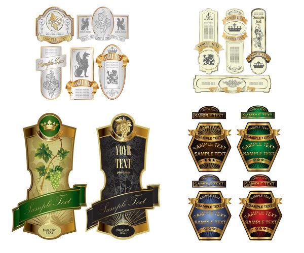 标签,葡萄,金属边框,神兽,标志,小图标,圆标,矢量素材,丝带,label,酒