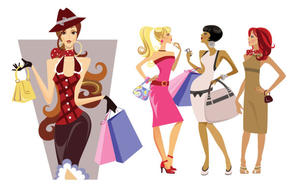 Fashion cartoon beauties vector character