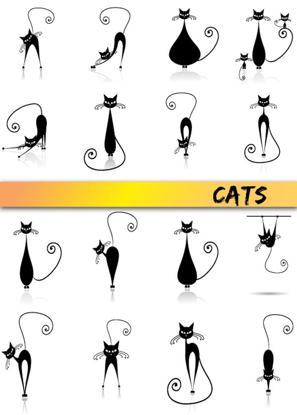 可爱,矢量,猫,猫咪,小猫,卷尾巴,鄙视,愤怒,表情,伸懒腰,花瓶,母猫,小