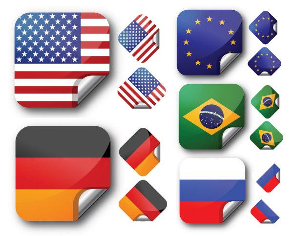 关键词: 几个国家的国旗贴纸矢量素材,国旗,贴纸,美国,巴西,欧盟,法国