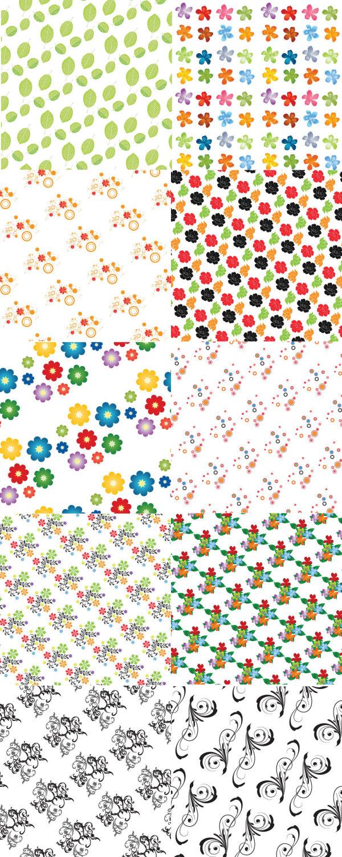 关键词: 花卉图案矢量素材,树叶,小花,七彩花,四方连续,环纹,花纹,背