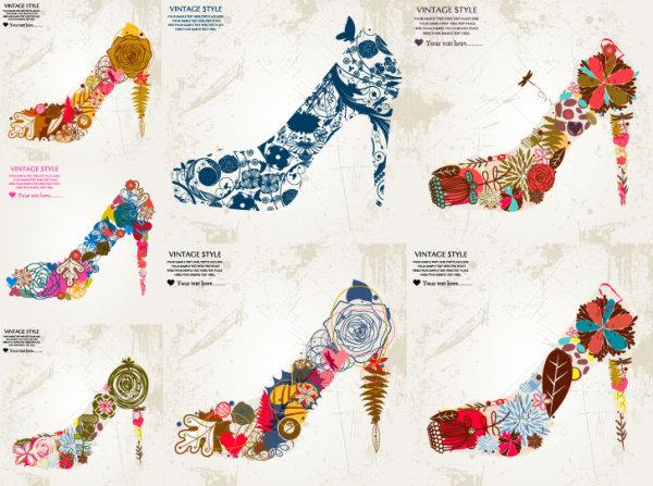花朵组成的高跟鞋矢量素材,高跟鞋,女性,花朵,玫瑰花,花卉,缤纷,花纹
