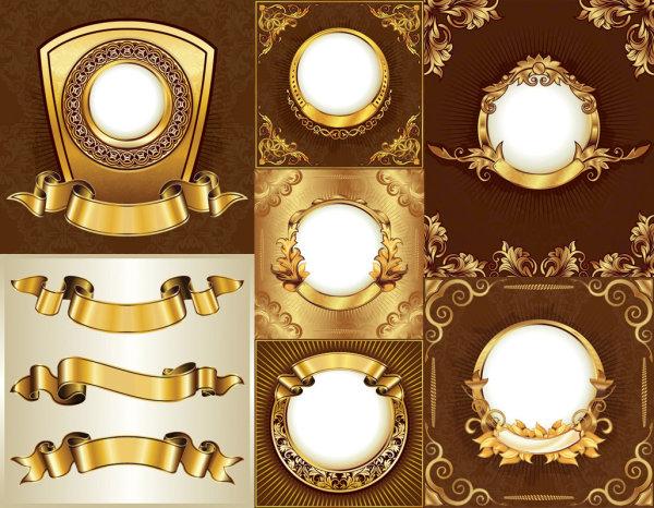 金色华丽花纹花边丝带矢量素材,欧式,华丽,花纹,花边,丝带,圆形,放射