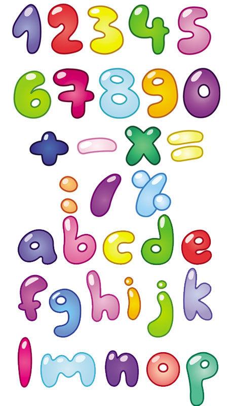 素材分类: 矢量艺术字所需点数: 0 点 关键词: 可爱卡通数字字母矢量图片