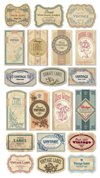 怀旧欧式label矢量素材,label,欧式,怀旧,花纹,瓶贴,边框,花朵,形状