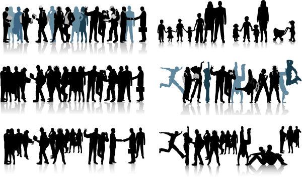 老板,书包,书,小孩,球,情侣,手提箱,男人,女人,黑白画,剪影,耳机,奔跑