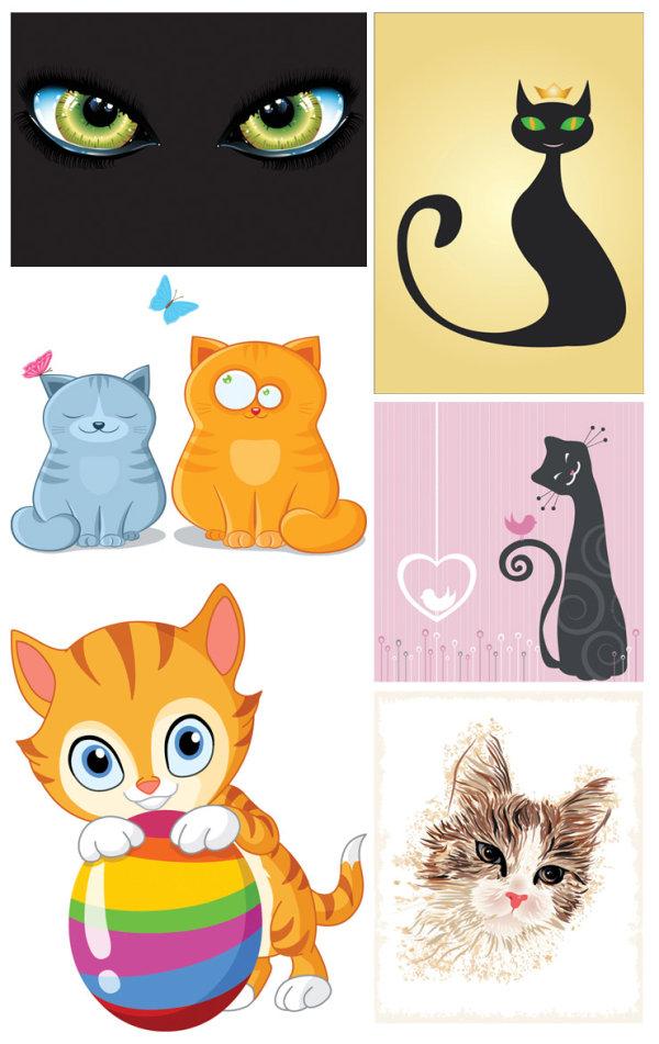 猫咪主题矢量素材