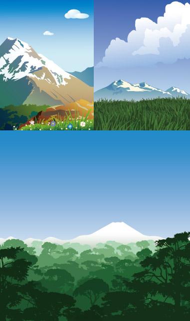 雪山风光矢量_矢量自然风景