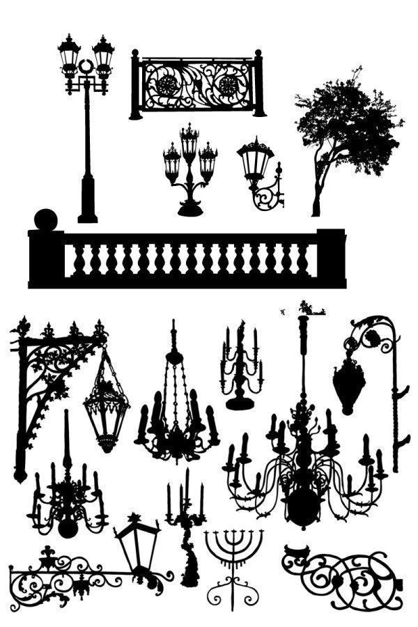 中国古代吊灯矢量