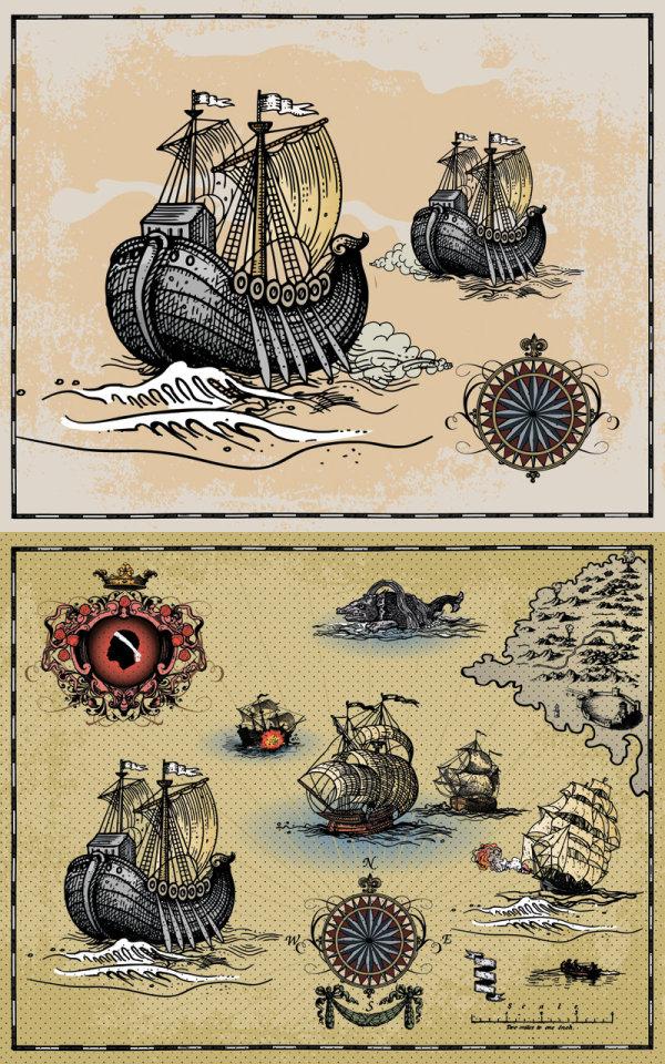 Старинные парусники открытки 29