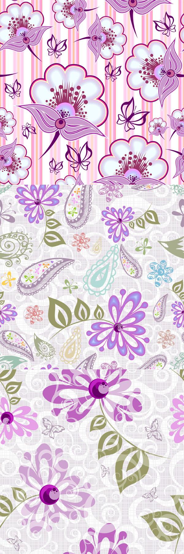 素材分类: 矢量图案所需点数: 0 点 关键词: 精美紫花图案背景矢量