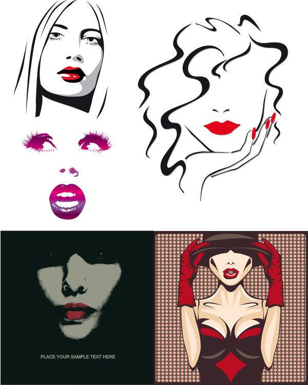 嘴唇卡通彩色图片