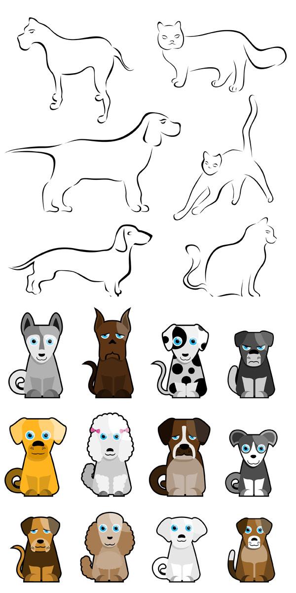 卡通小狗简笔画_矢量卡通动物