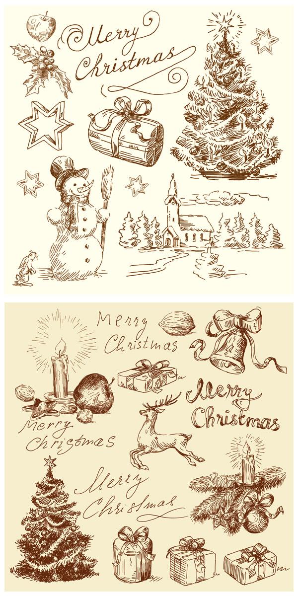 圣诞节插图矢量素材,复古
