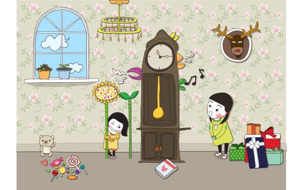 关键词: 可爱儿童涂鸦矢量,儿童,可爱,涂鸦,向日葵,糖果,钟,花盆,窗户