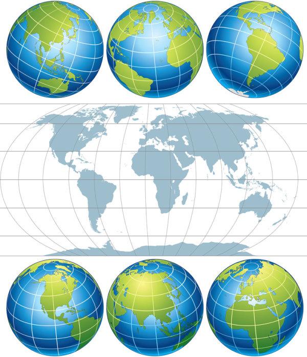 素材分类: 矢量地图所需点数: 0 点 关键词: 地球地图矢量素材,地球