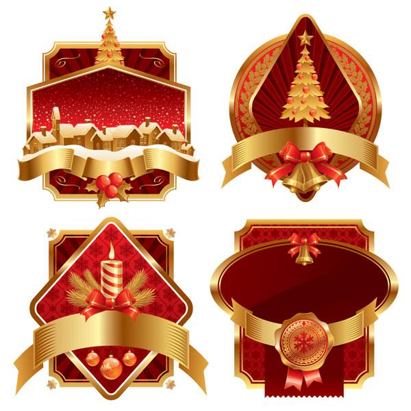 金色圣诞节label